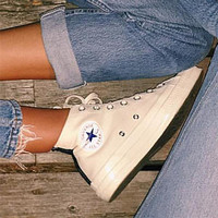 """Converse"" Fashion Canvas Flats Sneakers Sport Shoes Hight tops Beige"