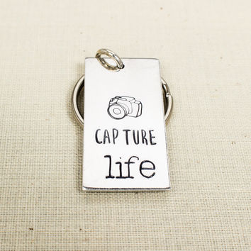 Capture LIfe Key Chain - Photography - Photographer Gift - Aluminum Key Chain