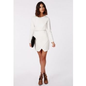 Missguided - Queenie Long Sleeve Zip Waist Shift Dress Ivory