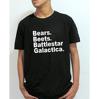 The Office TV show mens T shirt Bears Beets Battlestar Galactica Letter Print Summer Style tops Fashion Clothing plus size