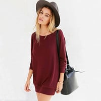 Stylish Batwing Sleeve Round-neck Long Sleeve Slim Dress One Piece Dress [9108980231]