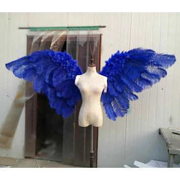 luxury Ostrich feather angel wings yellow red pink blue black devil cosplay wings