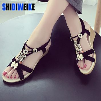 Summer Fashion Flip Flops Women's Beach Sandals String Bead Black Elastic Bands Flat S