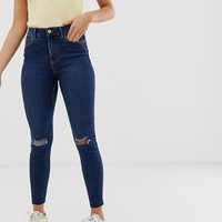 New Look knee rip lift and shape skinny jean in mid blue | ASOS
