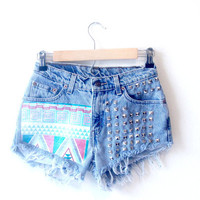 High Waisted Frayed Studded Aztec Printed Denim Shorts