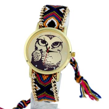 Gnova Platinum Ethnic Women Watch fashion owl tattoo hippie golden Braided bracelet wristwatch quartz clock Geneva Style A452