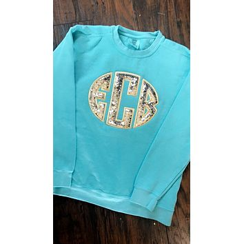 KIDS Mermaid Sequined Comfort Colors Monogrammed sweatshirt