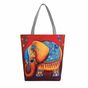 2017 Lovely Owl Elephant Flower Printing Canvas Bag Tote Casual Beach Bag Large Capacity Woman Shopping HandBag bolsos mujer
