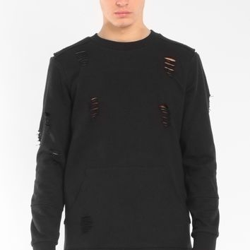 Entree LS Hysteria Distressed Destroyed Black Crewneck Sweatshirt