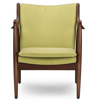Baxton Studio Shakespeare Mid-Century Modern Retro Green Fabric Upholstered Leisure Accent Chair in Walnut Wood Frame Set of 1