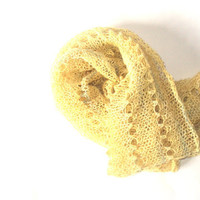 Yellow Scarf - Hand knit Infinity Scarf - Spring Lace Scarf - Lace cowl - Lace wrap - Alpaca and silk scarf