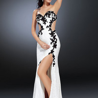 Buy Modern Sheath/Column Sweetheart Neckline Beadings Embroidery Sweep Train Chiffon Evening Dress  under 300-SinoAnt.com