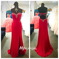 Gorgeous Red Fitted Sweetheart Side Slit Prom Dress With Cut Out Back
