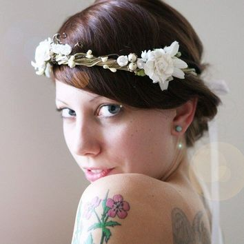 woodland vine crown 'lilliput' white flowers by whichgoose on Etsy