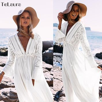2019 Sexy Beach Cover Up Swimsuit White V Neck Hollow Out Beach Long Dress Women Bikini Swimwear Bathing Suit Summer Beach Tunic