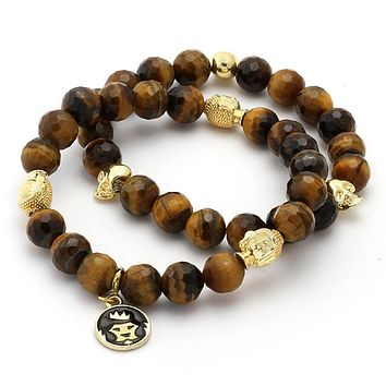 Tiger Eye Buddha & Skull Bead Bracelet Set