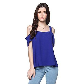 Everly Women's Solid Color Cold Shoulder Top with Short Flutter Sleeves