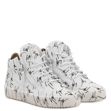 Giuseppe Zanotti Gz The Signature White Fabric Mid-top Sneaker With Black Logo Motif - Best Deal Online