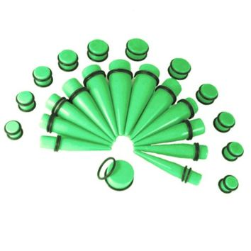 BodyJ4You Gauges Kit 12 Pairs Green Acrylic Tapers & Plugs 00G 12mm 14mm 16mm 18mm 20mm 24 Pieces