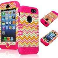 Bastex High Impact Hybrid Case for Apple iPhone 5, 5th Generation - Hot Pink Silicone with Colorful Hard Chevron Design