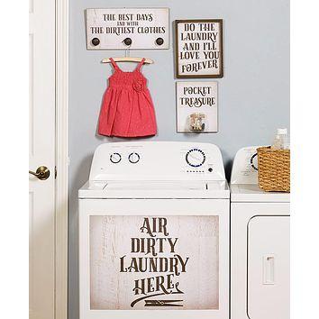 Laundry Room Wall Sign Home Decor Sentiments Gift Set, Sorting,Lost Socks,Loose Change
