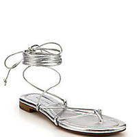Michael Kors Collection - Bradshaw Metallic Leather Lace-Up Sandals - Saks Fifth Avenue Mobile