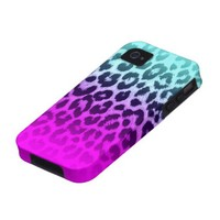 Gradient Tiffany Blue Pink Cheetah Leopard Print iPhone 4/4S Case from Zazzle.com