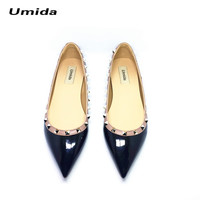 Umida Brand Women Shoes Rivet Flats Shoes Women Genuine Leather Shoes Ankle Strap Pointed Toe Shoes Studded Ballerinas Size33-43