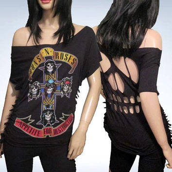 Guns N Roses / Cut / Fringed / Skull Cut Out / Appetite for Destruction / Band T Shirt Size L