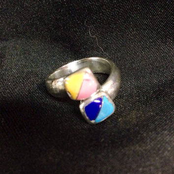 Multi Stone Mosaic Inlay Adjustable Ring Set in Fine Silver Authentic Artisan Handcrafted Turquoise, Lapis, Mosaic Silver Ring 925 Size 7