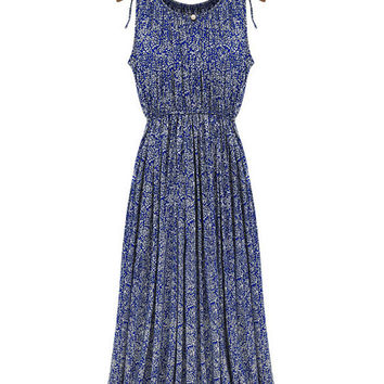 Blue Floral Printed Sleeveless  Fashion Maxi Summer Dress