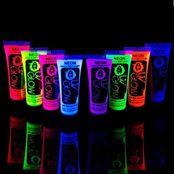 Uv Glow Blacklight Face and Body Paint 0.34oz - Set of 8 Tubes - Neon Fluorescent (All Colours)