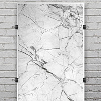 Cracked White Marble Slate - Ultra Rich Poster Print