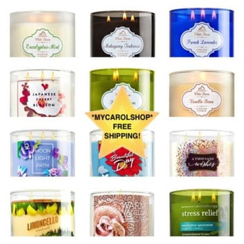 New Bath & Body Works 3 Wick Candle - Pick Yours! Free Gift Bag and Ribbon!