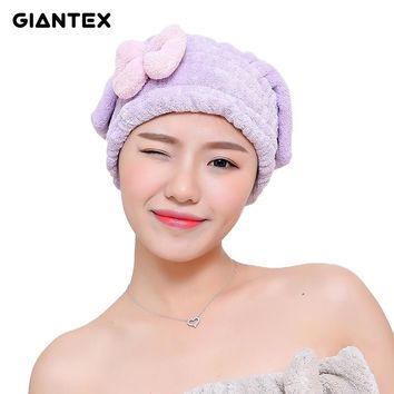GIANTEX Bowknot Women Bathroom Absorbent Quick-drying Polyester Cotton Bath Towel Hair Dry Cap Head Wrap Hat Salon Towel U1226