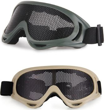 Anti-Fog CS oculos airsoft Tactical Anti Fog Metal Mesh Big Goggles Eye Safety Protection Glasses For Airsoft Desert