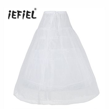 iEFiEL 3 Hoops Petticoat Underskirt Long Skirt Crinoline Slip for Bridal/Flower Women Girls Wedding Birthday Party Skirts