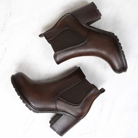 Chunky Heel Vegan Leather Chelsea Boots in Dark Brown
