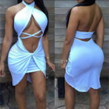 Seductive Halter Midriff-Baring Backless Irregular Hem Bandage Dress White