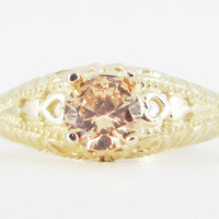 Champagne CZ 14k Yellow Gold Filigree Ring, Solid 14 Karat Gold Ring, 14k Gold Filigree Ring, Yellow Gold Ring, Champagne Cz, Filigree Ring