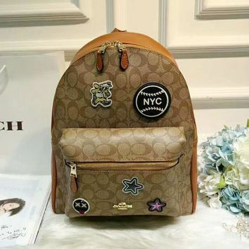 Coach Fashion Women Double Shoulder School Bag Backpack I-WXZ2H