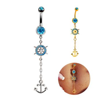 Fashion rudder and anchor blue zircon belly button ring antiallergic Navel Belly Ring-0428-Gifts box