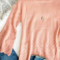 Terra Cotta Bell Sleeve Sweater