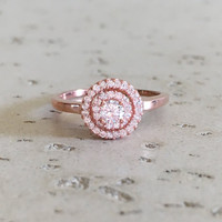 Rose Gold Promise Ring- Cubic Zirconia Ring- Wedding Ring- Halo Ring- Engagement Ring- Bridal Ring- CZ Ring- Gemstone Ring- Silver Ring