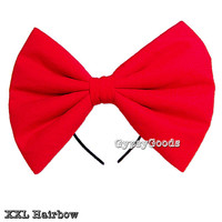 XXL Flannel Hair Bow (Headband) big cosplay or costume hairbow in Red, Black, White, Pink, Purple or Yellow