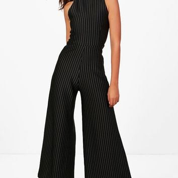 Tall Lola Pinstripe High Neck Jumpsuit | Boohoo