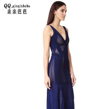 European and American brand new solid color Slim halter v-neck long  dress Evening Party