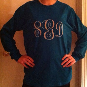 Long sleeve vinyl monogrammed t-shirts