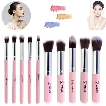 VANDER Pro Cosmetic 10Pcs Make up Brush Set Woman's Foundation Blush Powder Toiletry Kit make-up brushes kabuki tool Silver Pink