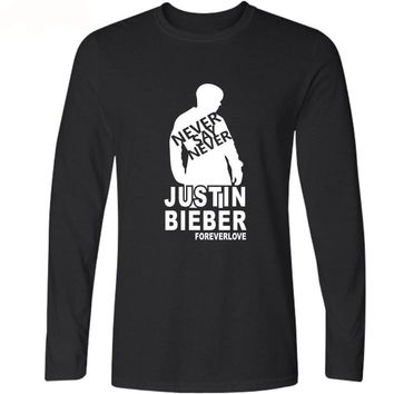 Justin Bieber T-shirts Soft Cotton Tees - Long Sleeved
